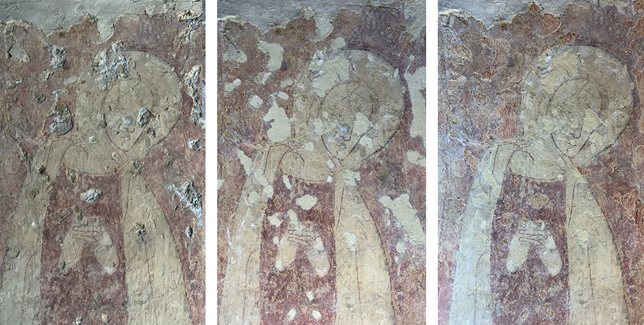 Medieval Wall Painting in St Peter's Church, Little Oakley