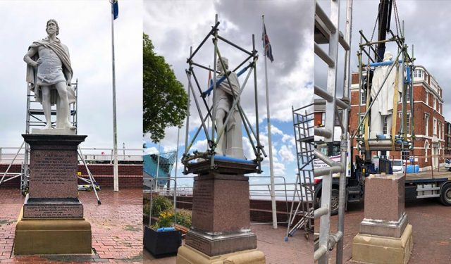 Giving local dignitaries a lift – William De La Pole and Voyage Sculpture